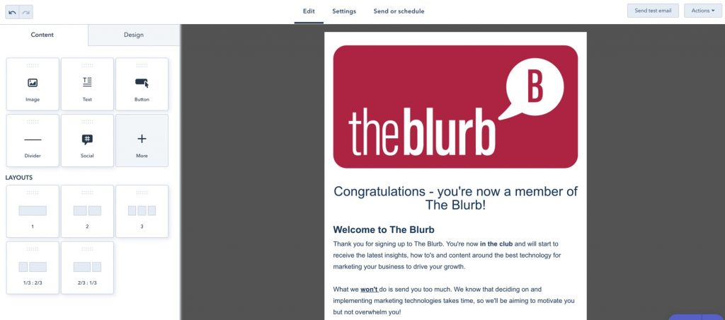 Hubspot Free Email Example