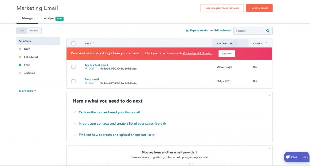 Hubspot Free Email Marketing
